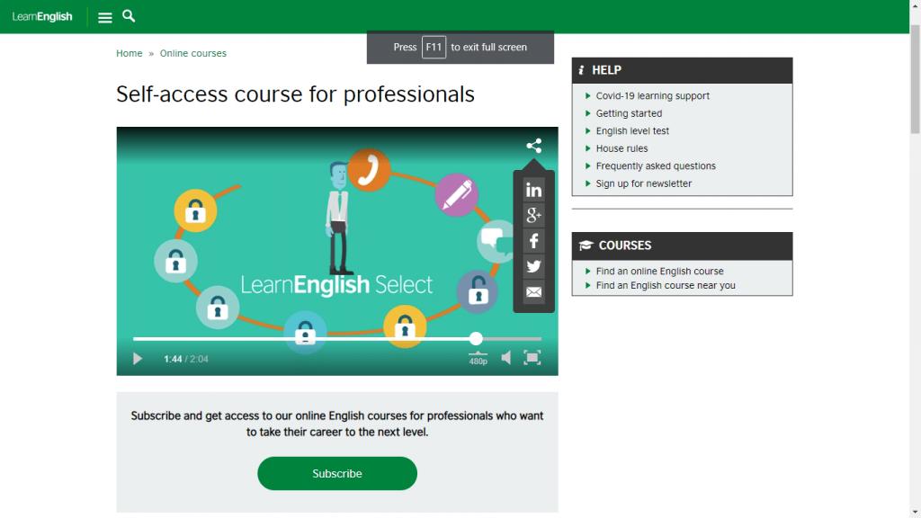 bbc plataforma de cursos de inglês