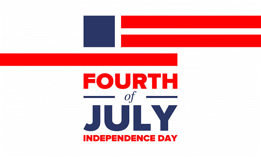 Bandeira dos Estados Unidos, com a frase, Fourth of Independence Day